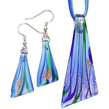Silver Blue Triangle Lampwork Glass Murano Bead Pendant Wax Necklace Earring Set