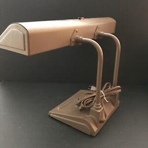 Vtg ART SPECIALTY CO Brown Cast Metal Bent Task Industrial Drafting Desk Lamp