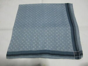 """USED BLUE WITH GRAY LOGO PATTERN COTTON 18""""POCKET SQUARE HANDKERCHIEF FOR MEN"""