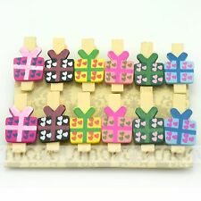 12PCS Gift Box Wood Clips Photo Paper Pegs Clothespin Craft Decoration 1 Set