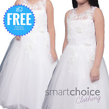 Girls Kids Wedding Christening Dress White Sequin Dress Exclusive Quality