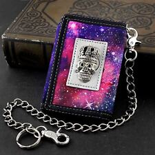 Girls Womens Starry sky Color Trifold wallet with Safe Chain