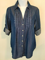 Vintage America Blues Top Buttoned Blue Rolled Sleeve Linen Lace Blouse Size S