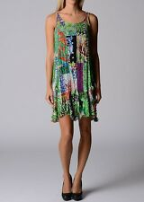 Two Layer Floral Patchwork Sleeveless Colourful Dress-Tunic Size 8 Free Post