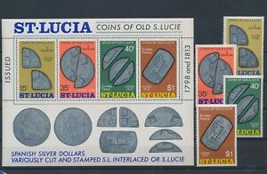 LN71238 St Lucia artefacts coinage currency fine lot MNH