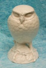 Antique White Parian Ware Ceramic Owl Figurine Hunched Back Pose