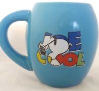 Peanuts Snoopy Joe Cool Blue Oval Ceramic Coffee Mug Cup Large 18 Ounces EUC
