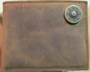 ZEP-PRO Genuine Leather Shot Gun 12 gauge Shell Bifold Wallet TIN GIFT BOX