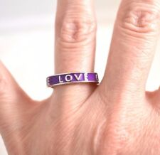 Enamel Love Stackable Ring Band Purple Violet Silver Tone Valentine's Gift 7.5