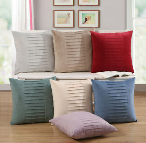 Pleated Super Soft Plush Cushion Covers Case Scatter Pillow Chenille