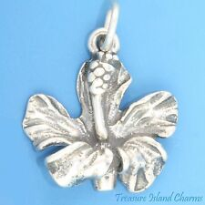HAWAII HIBISCUS FLOWER Hawaiian .925 Solid Sterling Silver Charm