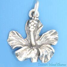 HAWAII HIBISCUS FLOWER Hawaiian .925 Solid Sterling Silver Charm