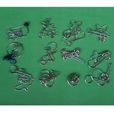 Lot of 12 Challenging Metal Wire Puzzles Toys IQ Magic Trick Ring Brain Teasers