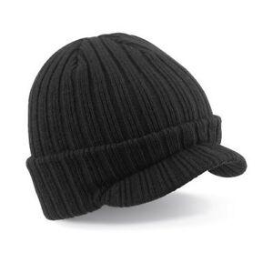 Black Beechfield Peaked Beanie Hat Acrylic Warm Cap