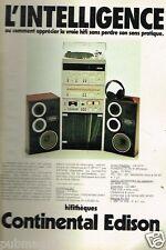 Publicité advertising 1978 Chaine Hi-Fi Continental Edison