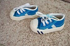Vintage Blue Canvas Baby Infant Size 1 Tennis Shoes Made In USA Pro Keds ?