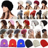 Trendy Damen Strickmütze Wintermütze Wollmütze Slouch Long Beanie Mütze Ski Hut