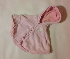 Baby Girls Pink Hooded Poncho With Buttons And Rabbit Design