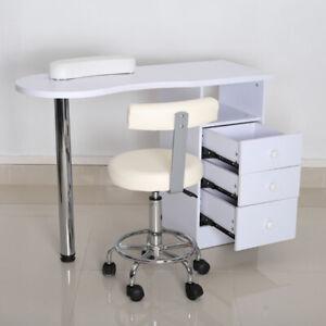 Manicure Table Technician Nail Art Beauty Salon Station Desk w/Backrest Stool UK
