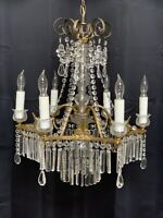 Antique French Victorian Crystal Chandelier Brass 7 Light