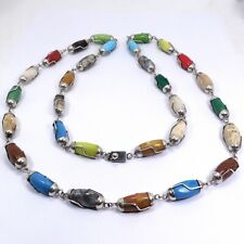 FESTIVE STERLING SILVER AGATE ART GLASS JELLY BEAN NECKLACE