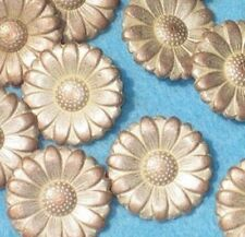 Set 12 DAISY vintage FLOWER Buttons Copper Silver METAL 7/8""