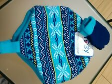 TOBY NYC CHILDS HAT & MITTEN SET SIZE 2 - 4 moS. BLUE SNOWFLAKE KNIT/FLEECE NWT!