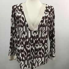 World Market Womens Medium Brown White Top V-Neck Made in India 100% Cotton