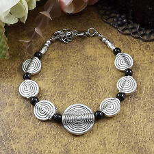 HOT Free shipping New Tibet silver multicolor jade turquoise bead bracelet S86B