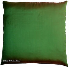 "20"" Green Cushion Pillow Cover Solid Dupion Silk Sofa Toss Throw Home Decorative"