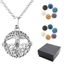 Chakra Lava Beads Essential Oil Diffuser Pendant Ball Hollow Locket Necklace Set