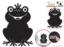FROG CHALKBOARD wall sticker BIG decal with flocked glitter animal decor prince