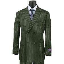 VINCI Men's Olive Green Pinstripe Double Breasted 6 Button Classic Fit Suit NEW
