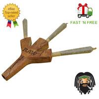 RAW Triple Barrel Wooden Cigarette Holder w/ Carry Pouch Three Cigarette Holder