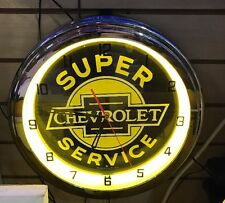 CHEVROLET Super Service Neon Wall Clock Car Truck Automotive Sign