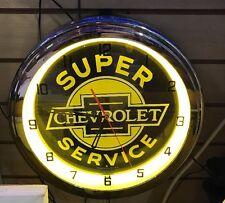CHEVROLET Super Service Neon Wall Clock Car Truck Automotive Sign