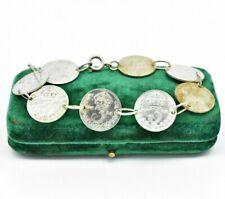 Vintage Sterling Silver Bracelet 7 inch 3 pence coins Art deco Art Nouveau #W432