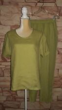 Flax 2 Piece Linen Set Lagenlook Style Green Top & Pants Size Small Excellent