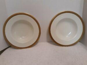 Royal Doulton 2 Rimmed Soup Bowls Ivory Gold Encrusted Rim H2908