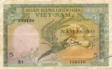 South Vietnam 5 Dong, 1955 Banknote (Cir) Used 5/Vie9770, Not