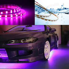 4pcs Pink Purple LED Strip Under Car Underglow Underbody System Neon Light Kit T