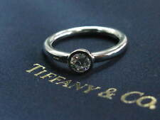 Tiffany & Co Platinum Round Diamond Solitaire Bezet Set Engagement Ring .34Ct