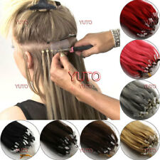 """Easy Loop Micro Ring Beads Natural Remy Human Hair Extensions Straight 16"""" 100s"""
