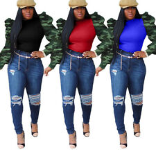 Women Camouflage Print  Long Puff Sleeves Patchwork Casual Club Party Tops Shirt