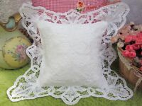 Victorian White Battenburg Lace French Bed Pillow Sham Case~Square~Wedding~RARE~