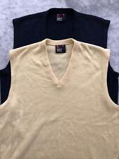 Lot Of 2 Vintage ROBERT BRUCE Mens Yellow & Navy V-Neck Golf Knit Vests Size XL