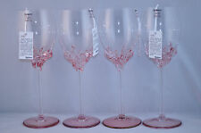 ION TAMAIAN Art Glass Wine Glasses Pink Set/4 Signed  Romania New