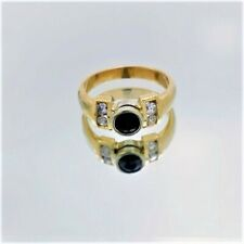 Sapphire Circle Ring [w/ 4pc Diamonds], Gold 14Kt Gift, Celebrate Jewellery