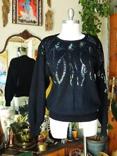 REGENCY COLLECTION Womens Black Embellished Round Neck Long Sleeve Sweater Sz L