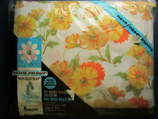 """DOUBLE FITTED SHEET """"Sunbeam"""" - Yellow & Orange Flowers - New in Pkg - Penneys"""